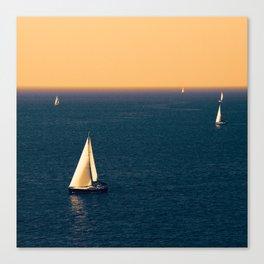 Sunset sea and sail boat Canvas Print