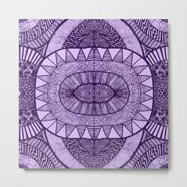 Grape Tangled Mania Pattern Doodle Design Metal Print