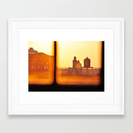 Fire Outside The Window Framed Art Print