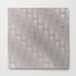 Girly rose gold & grey pineapple pattern Metal Print