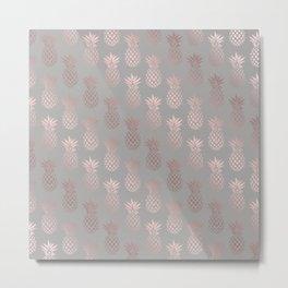 Girly rose gold & grey pineapple pattern Metal Print