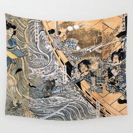 Kuniyoshi Utagawa, The ghost of Taira Tomomori, Daimotsu bay Wall Tapestry