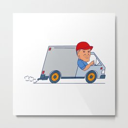 Delivery Man Driving Truck Van Cartoon Metal Print
