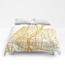 TEL AVIV ISRAEL CITY STREET MAP ART Comforters