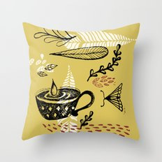 the cup and the moth Throw Pillow