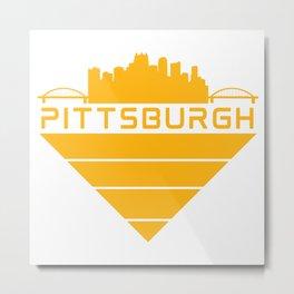 Pittsburgh Steel City Skyline Three Rivers Retro Print Metal Print