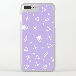 Pale Violet And White - Memphis Pattern Clear iPhone Case