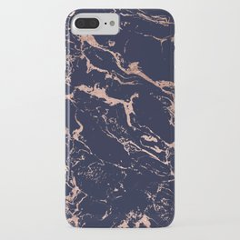 Modern chic navy blue rose gold marble pattern iPhone Case