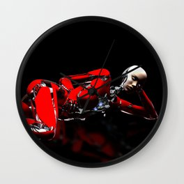 Red Robot Recharge Wall Clock