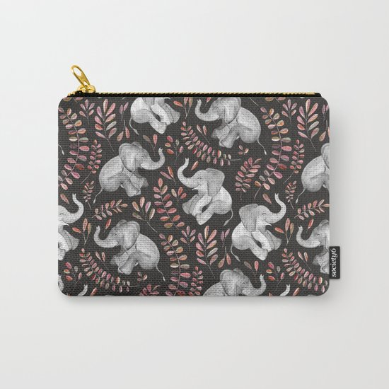 Laughing Baby Elephants - Coral Carry-All Pouch