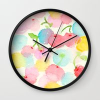 cherry blossom Wall Clocks featuring cherry blossom by zeze