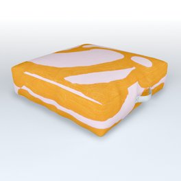 Abstract in Yellow and Cream Outdoor Floor Cushion