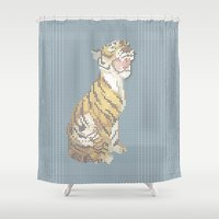 grumpy Shower Curtains featuring Grumpy by Mr. Morris can Meow!