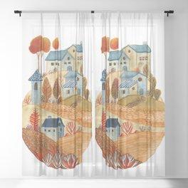 Circular village Sheer Curtain