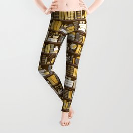 Book Case Pattern - Yellow Grey Leggings