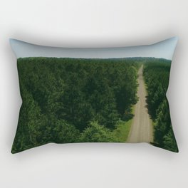 Aerial Southern Lush Green Forest with a Dirt Road in Louisiana Rectangular Pillow