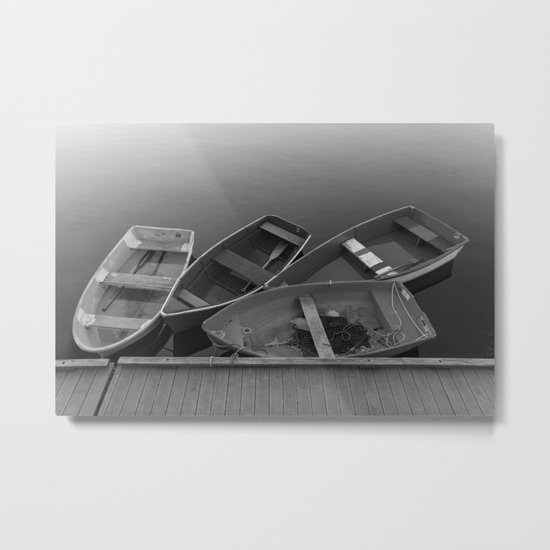 Four Skiffs Black and White Metal Print