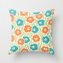 Mid Century Modern Wild Flowers Turquoise and Orange 391 Throw Pillow