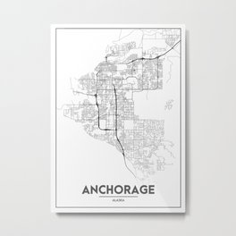 Minimal City Maps - Map Of Anchorage, Alaska, United States Metal Print