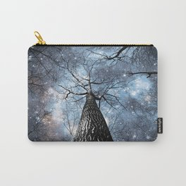 Wintry Trees Galaxy Skies Steel Blue Carry-All Pouch