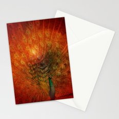 Peacock in Red Stationery Cards