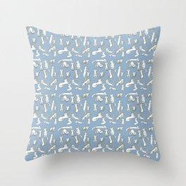 Kitten Love - Blue Throw Pillow