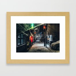 Japan Tokyo alley at Snowy Night Framed Art Print