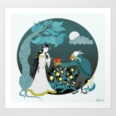 Snowhite and the Evil Witch Art Print