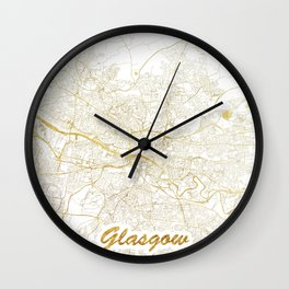 Glasgow Map Gold Wall Clock
