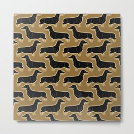 Cute pattern of miniature dachshund dogs in classic colors of black and tan Metal Print