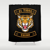 community Shower Curtains featuring El Tigre Chino community by Buby87