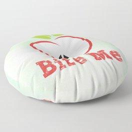 Red Apple Illustration - Bite Me Typography Floor Pillow