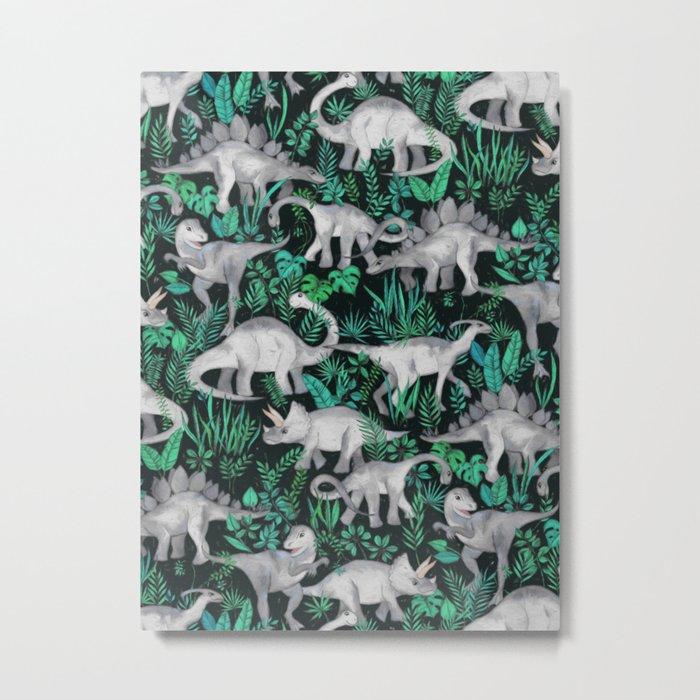 Dinosaur Jungle Metal Print