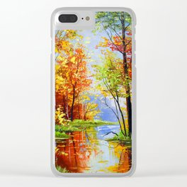 Autumn pond Clear iPhone Case