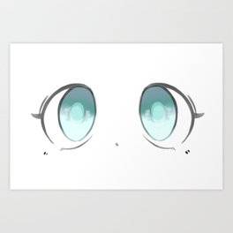 Manga Blue Eyes Art Print