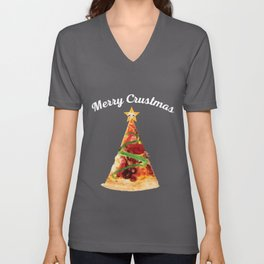 Merry Crustmas Pizza Tree Holiday Christmas product Unisex V-Neck