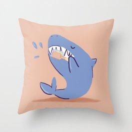 Teeth brushing shark Throw Pillow