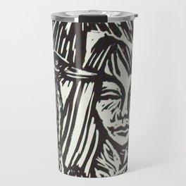 Women with Sandhill Cranes- Woodcut Travel Mug