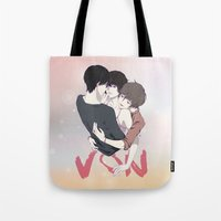 yaoi Tote Bags featuring Zankyou No Terror by Neo Crystal Tokyo