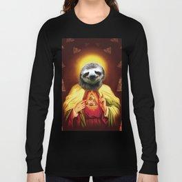 Holy Pizza Sloth Lord Jesus All over big print Animal Savior Long Sleeve T-shirt