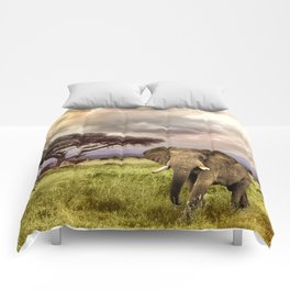 Elephant Landscape Collage Comforters