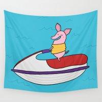 ski Wall Tapestries featuring Jet Ski Pig by Pig & Pumpkin