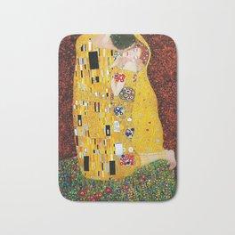 Gustav Klimt - The Kiss gold leaf, silver, and platinum, The Lovers golden period still life Bath Mat