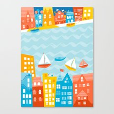 Whimsical Waterfront City Canvas Print