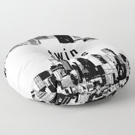 Twin Cities Minneapolis and Saint Paul Minnesota Floor Pillow