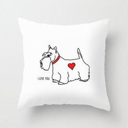 Scottie Dog-I love you! (b/w-red heart) Throw Pillow