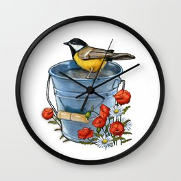 Bird on a Blue Pail with Poppies and Daisies Wall Clock