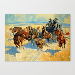 "Frederic Remington Western Art ""Downing the Nigh Leader"" Canvas Print"