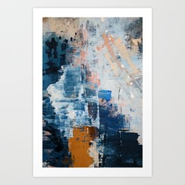 Shapes in the Clouds: a vibrant mixed-media piece in blues and pinks by Alyssa Hamilton Art Art Print