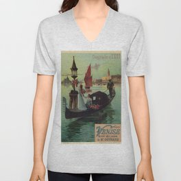 Paris Venice Victorian romantic travel Unisex V-Neck